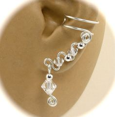 Swarovski Crystal and Sterling Silver Pair of Ear Cuffs with Your Choice of 12 Birthstone Colors, Wire Ear Cuff, Non Pierced, Celtic Cuff