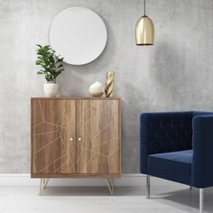 Solid Wood Drinks Cabinet with Brass Inlay & 2 Cupboards- Tahlia Range | Furniture123