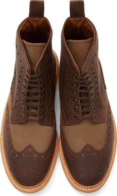 Grenson Brown Leather Shortwing Brogue Fred Boots
