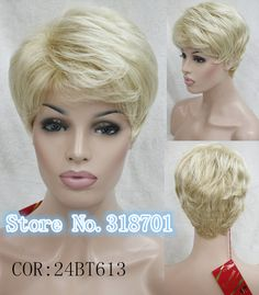 Blonde Natural Hair Wigs Ombre Synthetic Wigs Pixie Cut Hairstyle Wig For Women Peruca free shipping