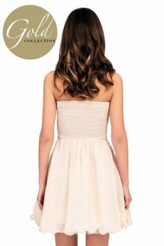 Little Mistress Cream with Rose Gold Heavy  Embellished Prom Dress