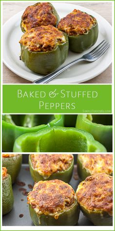 Stuffed Peppers are a favorite here. Filled with lean meat, veggies, and rice, they make a great meal all wrapped up in one small package! | SimpleFood365.com