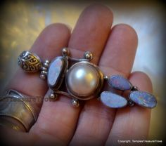OOAK Mabe Pearl and Aussie Opal Pendant Sterling Silver Australian Firey Opal and Mabe Pearl Pendant Focal Bead With Large Bale Gift For Her by TemplesTreasureTrove on Etsy