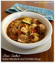Recipe for Slow Cooker Italian Meatball and Tortellini Soup