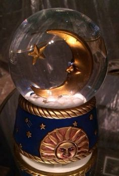 Celestial Moon Star Sun Musical Snow Globe
