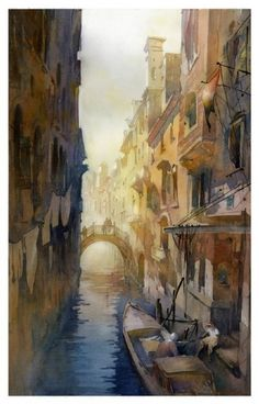 ideal venice canal by Thomas W Schaller Watercolor ~ 36 inches x 18 inches