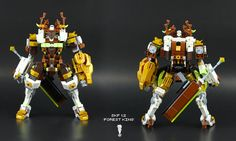 """SKF 1.2 – """"Forest King"""" The """"King"""" from the """"Royal Flush"""" Mercenaries, a very interesting Mech and Pilot, Shiro was the the Guardians of one of the few forests remaining, he was nicknamed """"Shishigami"""", and his Mech is one of the few that has ornaments without functions, like the horns, those are a tradition and a sign of respect created by the villagers of the forest. After the forest was destroyed by the empire in search of resources, Shiro was the only survivor, but not without a price…"""