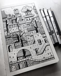 Drawings, doodles, and design | Sketchbook Cityscape. Completed this little sketch...