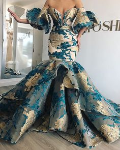 Long Mermaid Off Shoulder Arabic Lace Evening 2019 Saudi Arabia Dubai Moroccan Sexy Formal Prom Gowns African Prom Dresses, African Fashion Dresses, African Attire, African Dress, Dress Fashion, Style Fashion, Elegant Dresses, Pretty Dresses, Formal Dresses