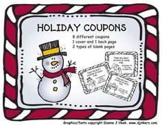 holiday Coupon Book 2: Fun and easy Gift from Horner's Dugout on TeachersNotebook.com -  (16 pages)  - For the holidays, it is always fun for the students to make something to give as a gift. Here is something that is fun, quick and EASY for the students to complete.