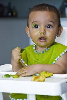 You're about to start weaning your baby. Now comes the big decision. Do you spoon feed or go for baby led weaning? Of course you can do a bit of both. When your baby starts the weaning process, make sure that you cut finger food into stick size pieces as this is easier for babies to hold and from aboutseven months onward you can also cut food into cubes. The important thing is to never leave them alone when they're eating, just in case they choke. Now don't panic, my wee Cooper ...