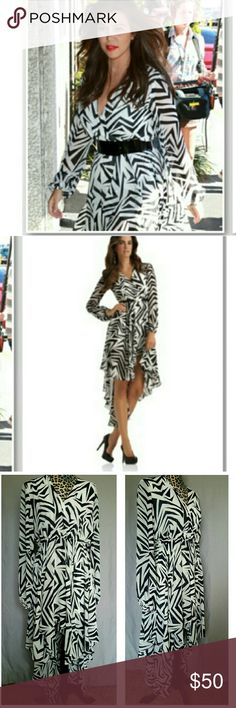 KARDASHIAN KOLLECTION HI LOW DRESS KARDASHIAN KOLLECTION black and white Zebra print high low dress. The show-stopping, sheer dress has a contoured asymmetrical hem which is shorter in front and longer in back, with a chic  mini-length. 100% polyester. Dresses
