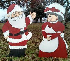Santa and Mrs Santa. Christmas yard art decorations.