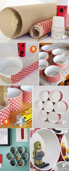 ARTESANATO COM QUIANE - Paps,Moldes,E.V.A,Feltro,Costuras,Fofuchas 3D: prateleira feita de rolo de papelão para miudezas