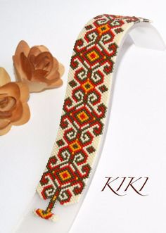 Bracelet beaded peyote bracelet 'Diamonds and by KikisBeadArts