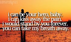i can be your hero, baby. i can kiss away the pain. i would stand by you forever. you can take my breath away.--hero; enrique iglesias <3