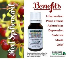 Red Spikenard Pure Essential Oil by Biosource Naturals helps soothe symptoms of inflammation, stress and grief.  It's also helpful for panic attacks.  #aromatherapy