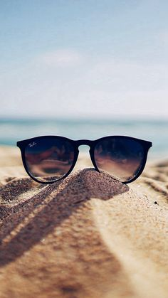 Nature Glass Sun Rayban Bokeh Vacation Sea Summer #iPhone #7 #wallpaper