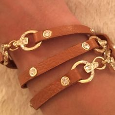 Leather Rhinestone Wrap Bracelet NWT never worn. I have a smaller wrist and it wraps three times around. Hook closure. Jewelry Bracelets