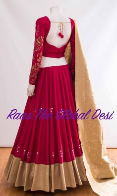 Chaniya choli 2018 Buy online beautiful designer collection -ghaghra choli navratri collection at best prices at RAAS THE GLOBAL DESI . Indian Fashion Dresses, Indian Gowns Dresses, Dress Indian Style, Indian Designer Outfits, Indian Outfits, Half Saree Designs, Choli Designs, Lehenga Designs, Choli Blouse Design