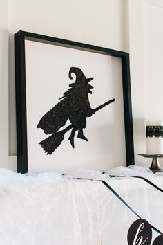 Glitter Witch Art | Use an Ikea Frame + Our Printable Template - Easy! The TomKat Studio: How to Style a Glam Halloween Mantel…