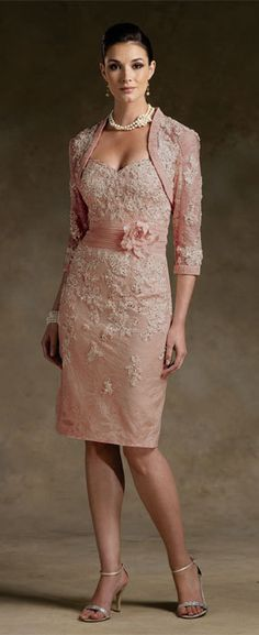"""""""Sweetheart"""" short strapless suit in rose pink with white lace flower accents & matching bolero from Victorian Trading Co."""