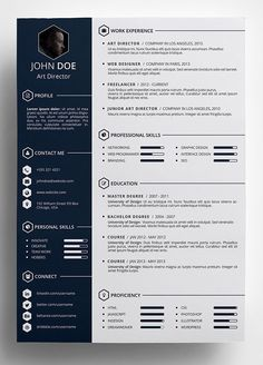Designer Resume Template Free Professional Resumecv Template  Cover Letter #freebie