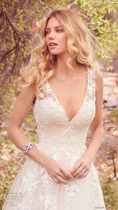 maggie sottero spring 2017 bridal sleeveless lace strap deep v neck heavily embellished bodice romantic a  line wedding dress low back chapel train (meryl) zv