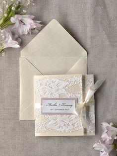 Ivory Lace Wedding Invitation, Pink Wedding Invitation, Pocket Fold Wedding Invitations , Vintage Wedding invitation