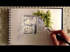 A simple line and wash watercolor painting of a window. This video was created some time ago, just found time to edit it now! Colors used: -pale wash of mang...
