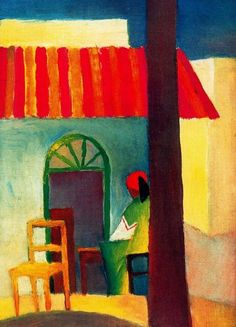 August Macke (1887 –  1914),   Der Blaue Reiter (The Blue Rider).  Expressionist  What I'm painting on my chair for the chair faire 7/2012