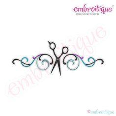 Flourish Border with ScissorsDigital Machine Embroidery Design
