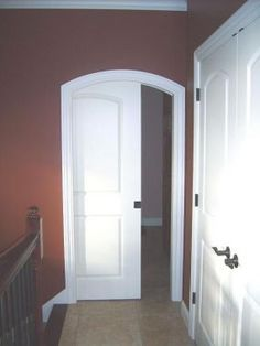 Door in Arched Pocket // seriously want arched pockets in every single doorway. I hate swing doors.