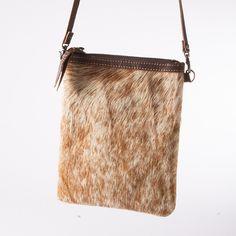 Brindle Cowhide & Leather Crossbody Bag - Handbags & Scarves - National Cowboy Museum