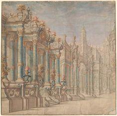 Ferdinando Galli Bibiena | 1657-1743 | Left Half of a Palatial Architectural Fantasy | The Morgan Library & Museum