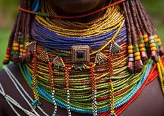 Traditional Mwila Necklace, Chibia Area, Angola.    Photo by: Eric Lafforgue.