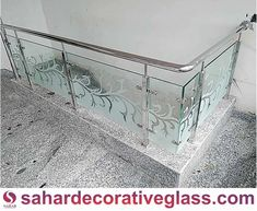 Stair Railing Design, Balcony Railing, Balcony Glass Design, Glass Etching Designs, Grill Design, Entryway Tables, Stairs, Jay, Furniture