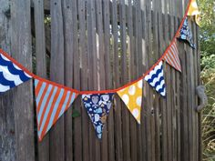 Bunting Flags Nautical Red Blue Yellow and Turquoise by BooBahBlue