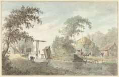 Hermanus Petrus Schouten | Boerderij aan een vaart met een ophaalbrug, Hermanus Petrus Schouten, 1757 - 1822 |