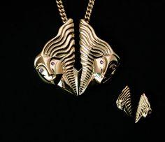 Gemini brass necklace BISJOUX  pure by BISJOUX on Etsy