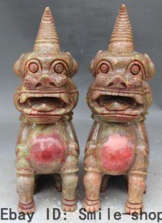 "13""Chinese Jade Guardian Dragon Foo Fu Dog Lion Kylin Pi Xiu Unicorn Statue Pair"