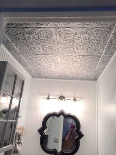Bathroom Ceiling Tiles >> Spanish Silver Styrofoam Ceiling Tile in Antique Silver Styrofoam Ceiling Tiles, Faux Tin Ceiling Tiles, Shiplap Ceiling, Ceiling Trim, Covering Popcorn Ceiling, Remove Popcorn Ceiling, Popcorn Ceiling Removal, Ceiling Texture, Textured Ceiling