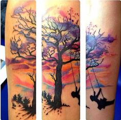 Tree with watercolor background Arte tattoo Arte Tattoo - Fotos e ...