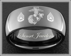 Usmc Black Tungsten Ring Engraved With Marines Eagle Globe Anchor Sergeant Rank Free Inside Engraving Sunsetjewelers