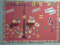 For Health and Physical Education teachers this is a great way to show kids what eating healthy and being active equals. Used this bulletin board for my student teaching. The kids loved it.