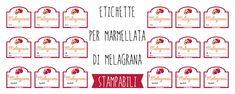 Per le tue marmellate fatte in casa ecco 6 diversi tipi di etichette per la marmellata di Melagrana da stampare. Scegli, scarica e stampa quella che fa per te!