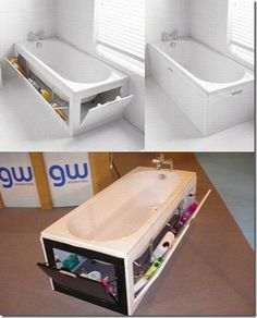 bathroom Bathtub, so clever... though my children would hide all sorts of stuff down there. I think this is one of those things we just wouldn't tell them about.