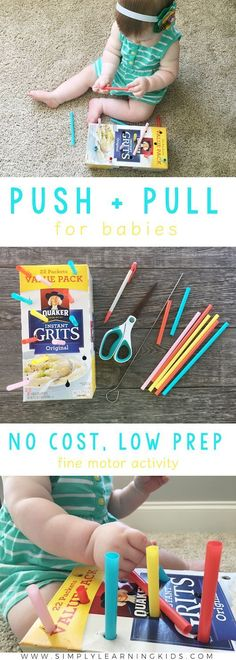 Push & Pull Activity For Babies - A No Cost, Low Prep Fine Motor Activity! activities Push & Pull Activity For Babies - Simply Learning Montessori Baby, Montessori Bedroom, Toddler Play, Baby Play, Toddler Learning, Infant Activities, Preschool Activities, 5 Month Old Baby Activities, Diy Toys For 5 Month Old