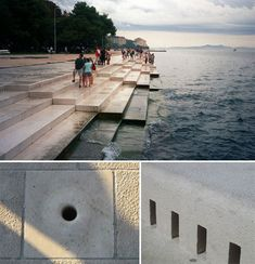 Sea Organ is an architectural and experimental musical object located in Zadar, Croatia. Is a pipe organ that has a set of 35 musically tuned tubes located underneath a set of large marble steps played by the sea waves. The movement of the sea pushes air through, and depending on the size and force of the wave, it produces a somewhat random but harmonic sound.