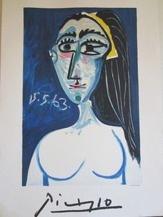 Picasso 15-5-63 colored Mid Century portrait print noted in print: Collection Marina Picasso, C copyright Benjamin F. Venti 1981. A girl with long black hair, gorgeous blue background, yellow and whit